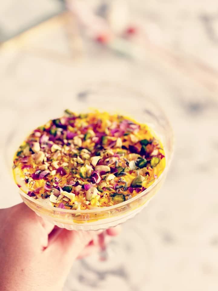 Saffron dessert in the saffron experienc