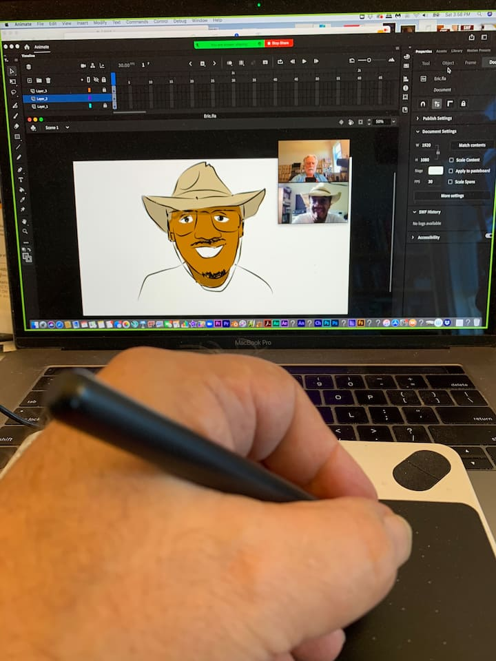Drawing a digital caricature of a guest.