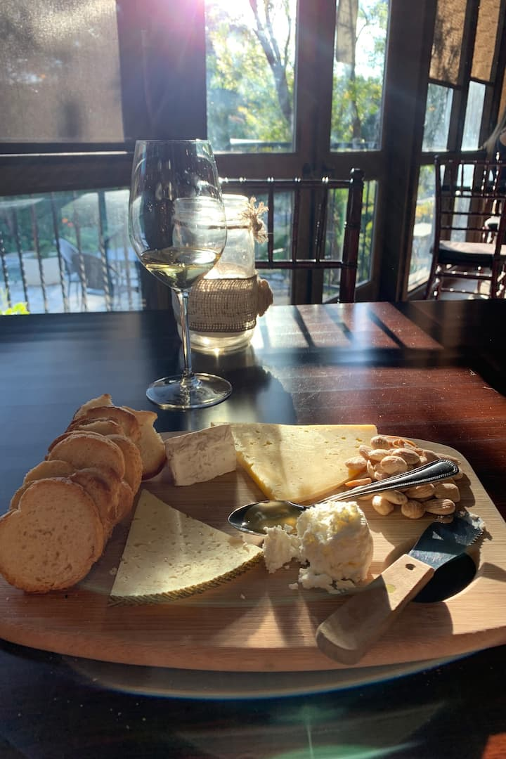 Charcuterie board at Fall Creek Winery