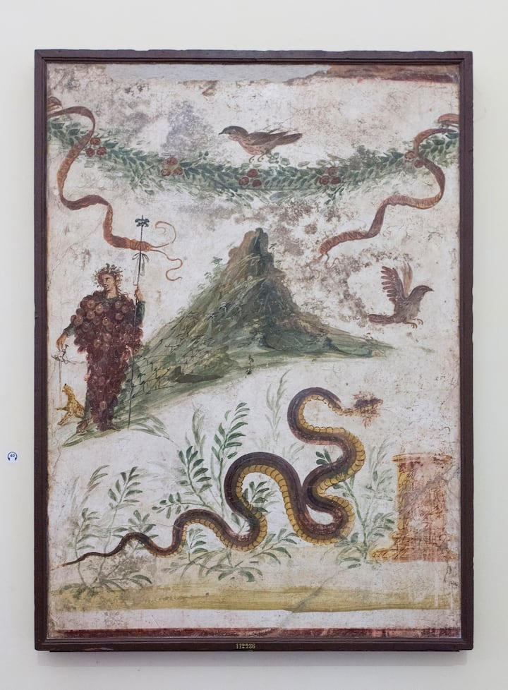 Fresco of Vesuvius and Baccus