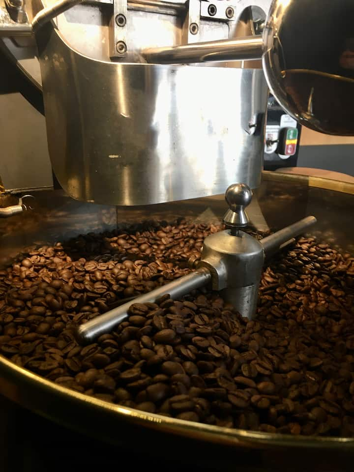 Fresh roasted beans cooling off