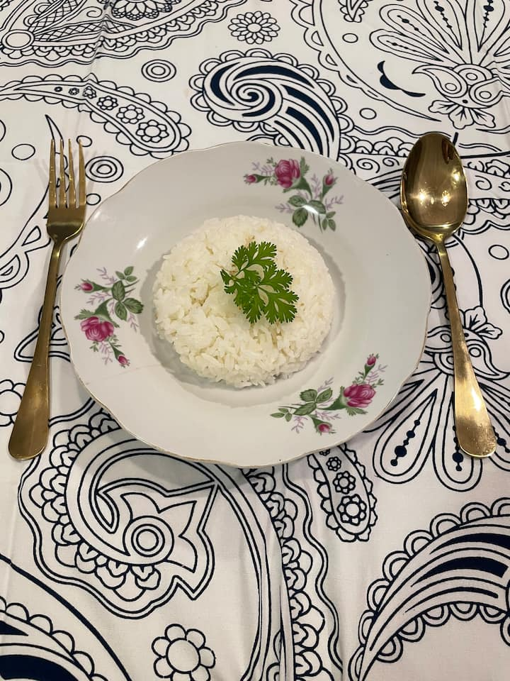 steamed rice(coconut milk+pandan leaves)