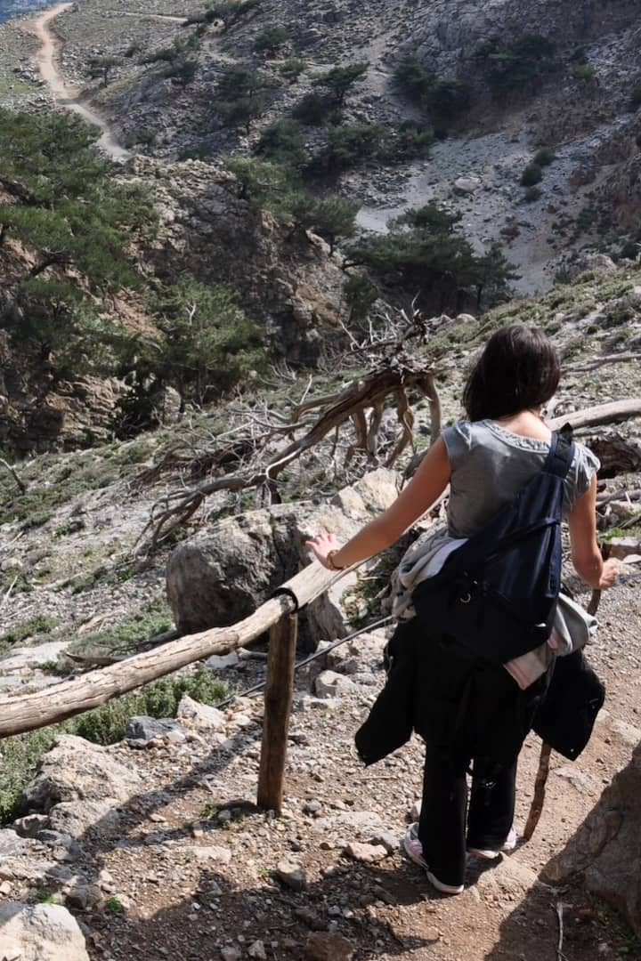 Walking on a trail in the Cretan nature