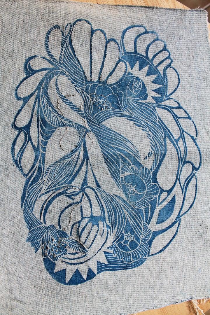 gravure tirée sur jean
