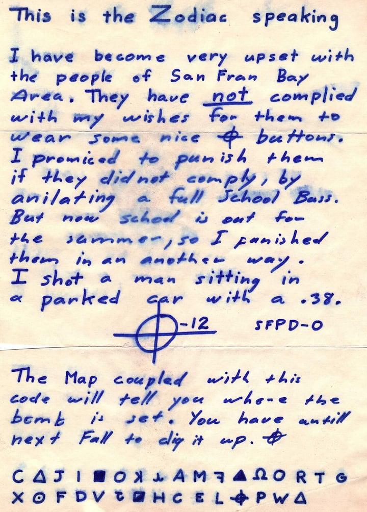 The Zodiak Killer's handwriting