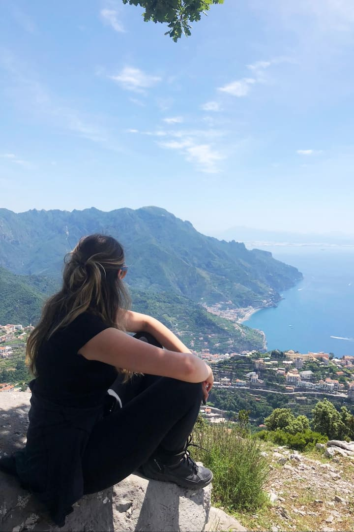 My guest looking at the Amalfi coast.