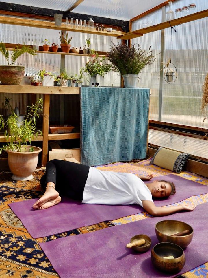 Yin yoga dans la serre