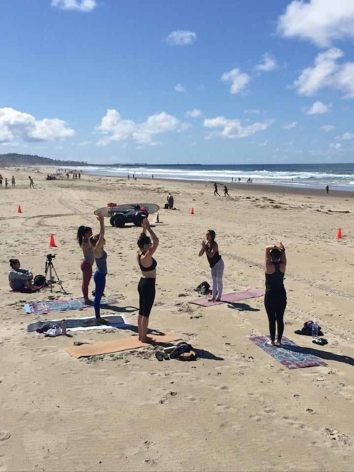 Sun Salutations in the sand~