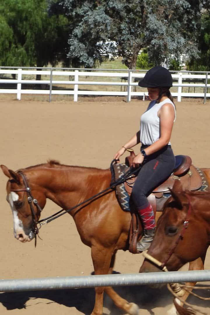 Student Saffron riding Lilbitblue Sneaky