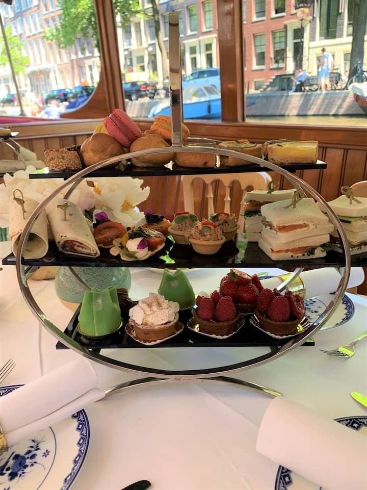 High tea on classic salonboat