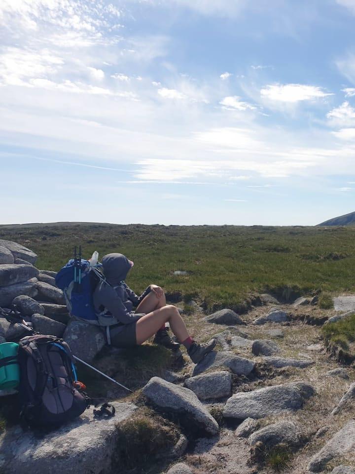 Having a Rest on  Lugnaquilla summit