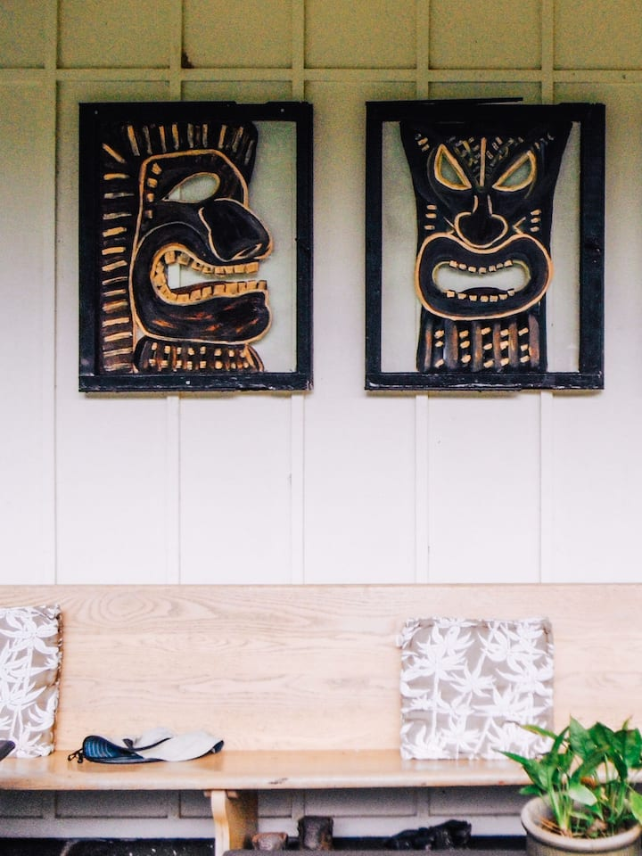 The Tikis greet you at our door.