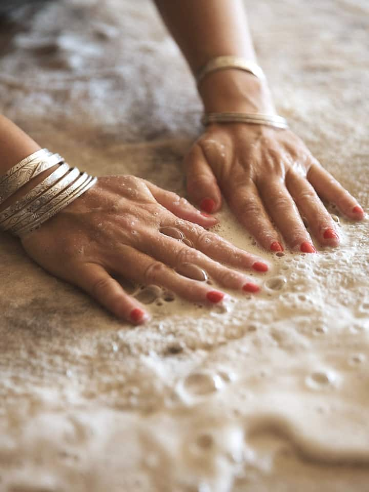 Using hands to make felt