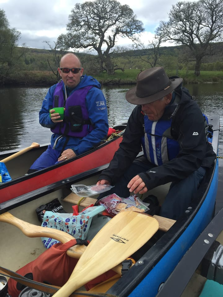 Having a snack on canoe journey