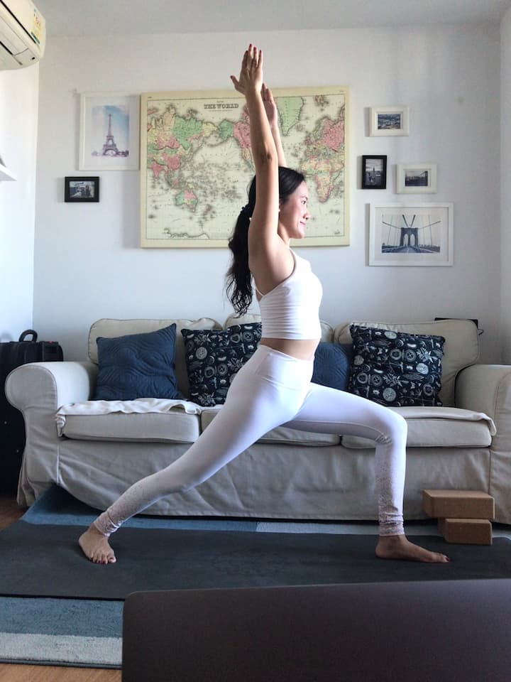 Warrior I - standing pose of yoga flow