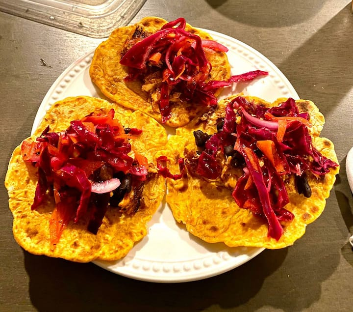 Chickpea tacos with rainbow slaw