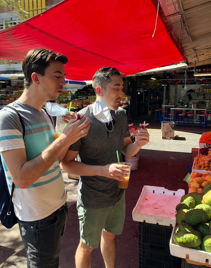 Trying exotic and fresh local fruits