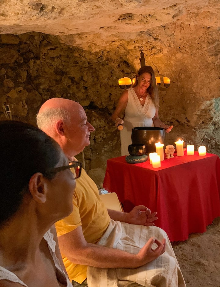 A group sound healing session