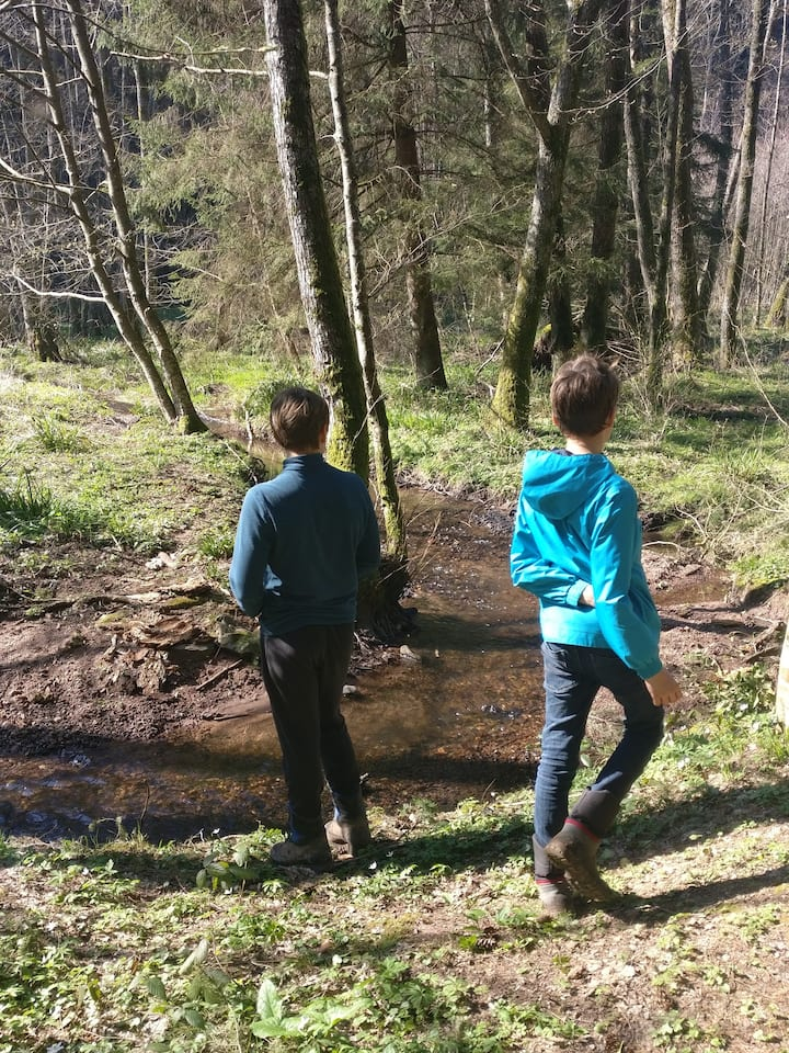 Teenagers by the stream