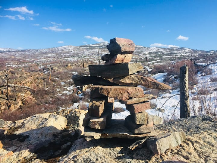 Inukshuk we built at the summit
