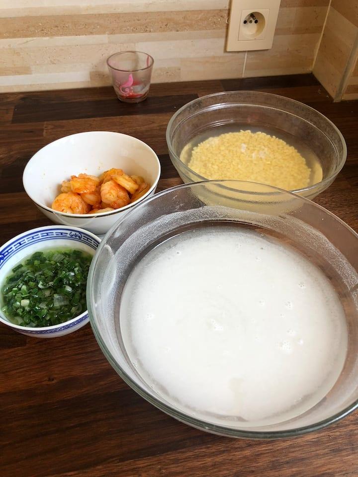 La préparation de la farine, les scampis