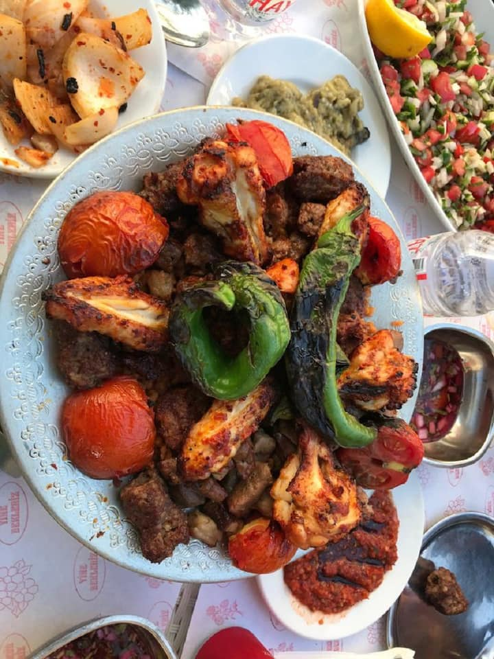 Lamb, chicken and liver kebabs