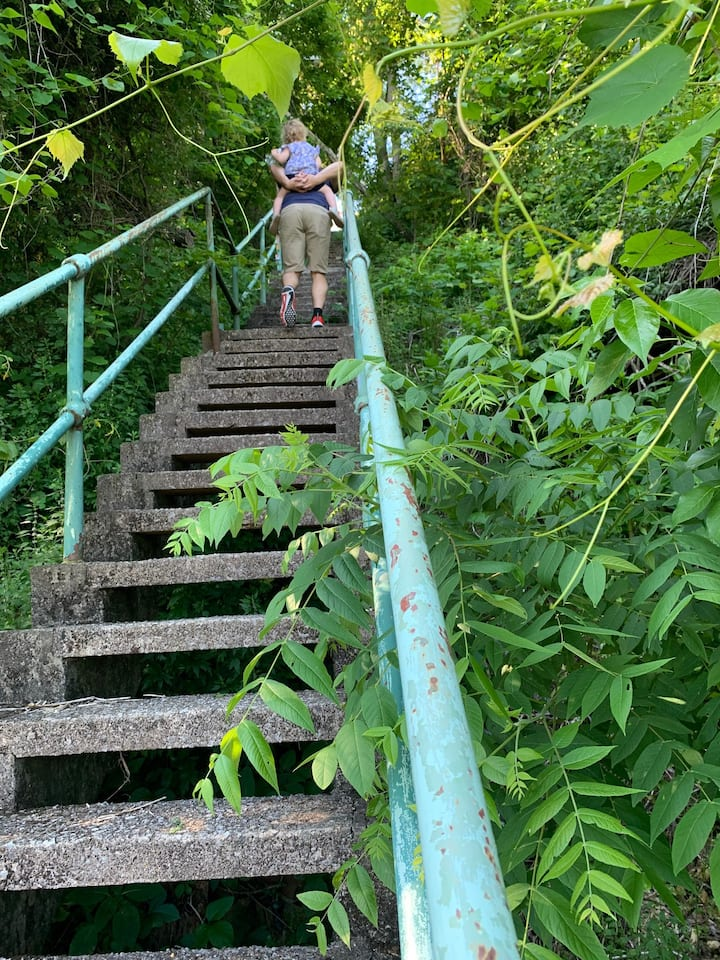 Climb about 150 steps