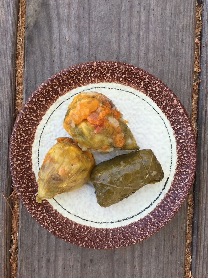 Stuffed vine leaves & courgette blossoms
