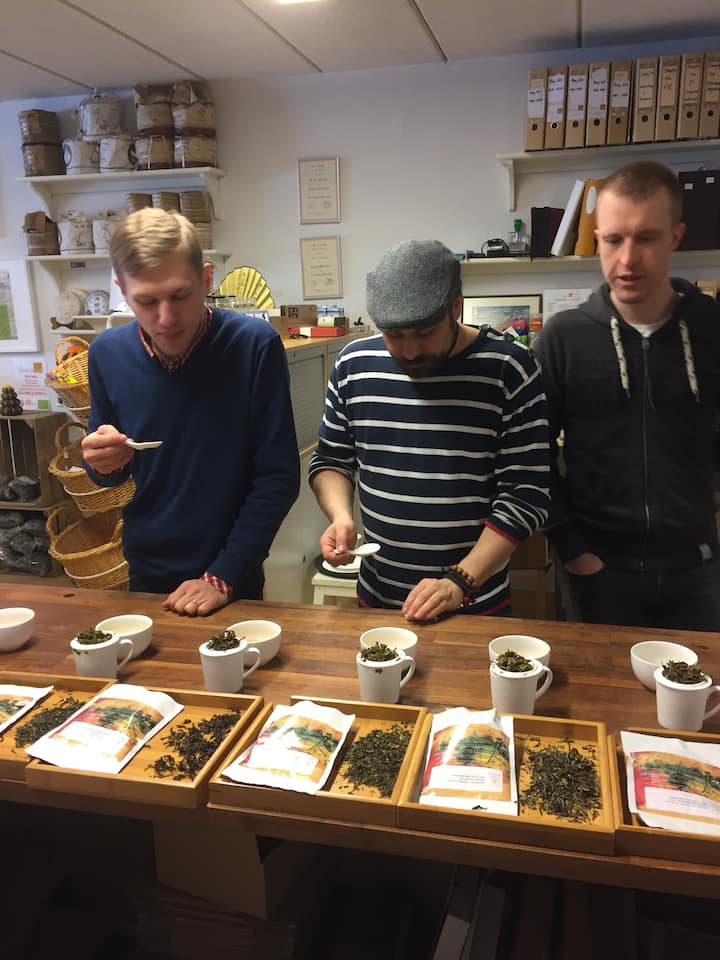 Professional tea cupping