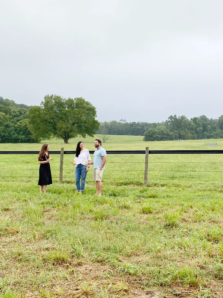 Beautiful pastures are the backdrop.