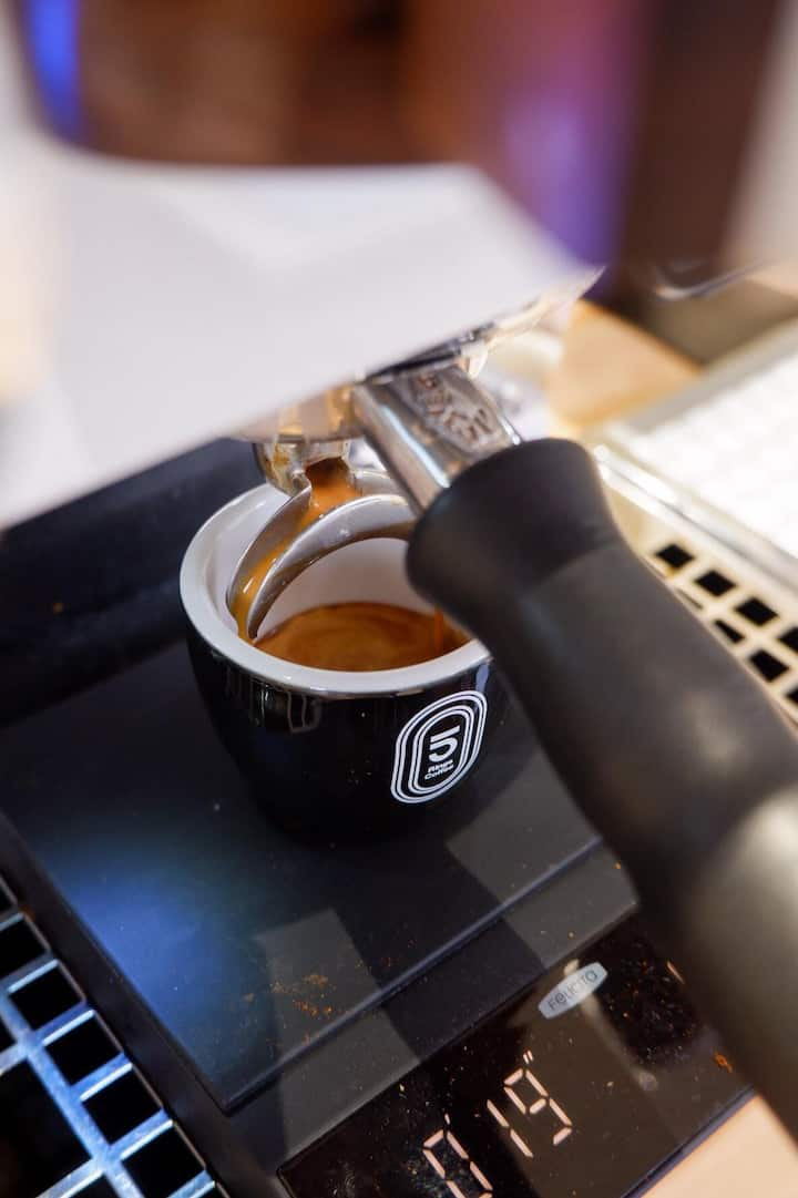 Extracting the perfect espresso.