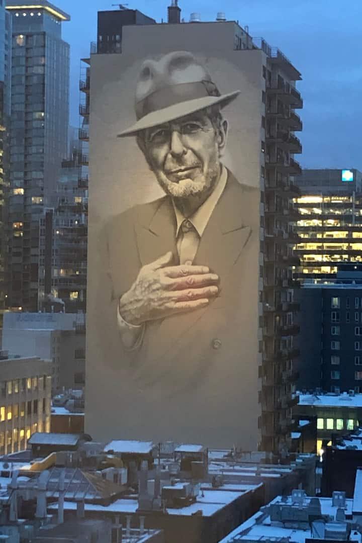 Leonard Cohen mural from lookout