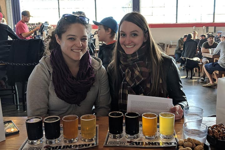 A flight of beers at Lagunitas.