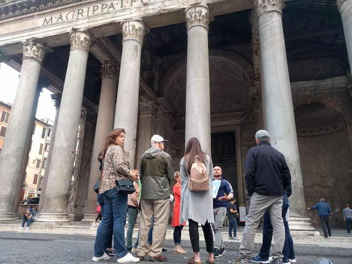 By the Pantheon, telling of  Agrippa