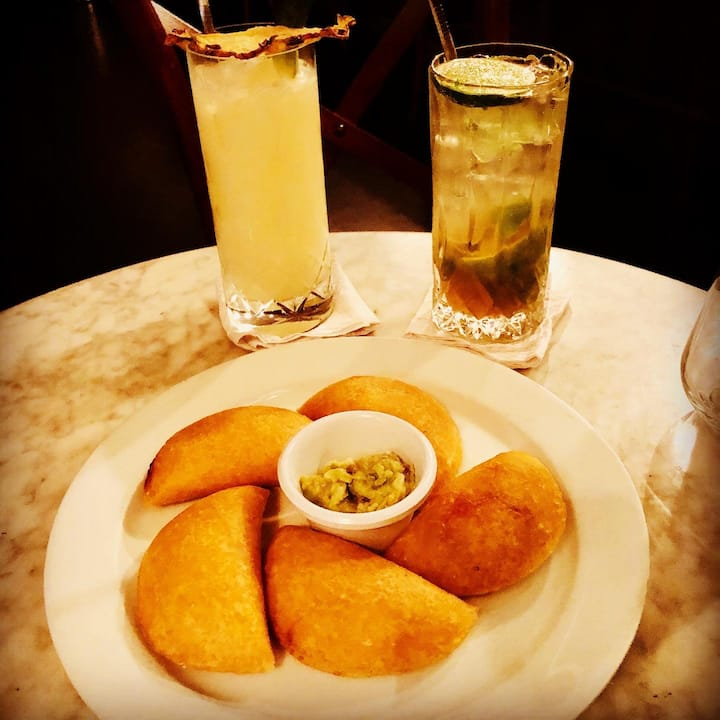 Corn empanadas and cocktails