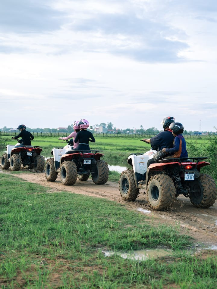 Riding through rice paddy fields