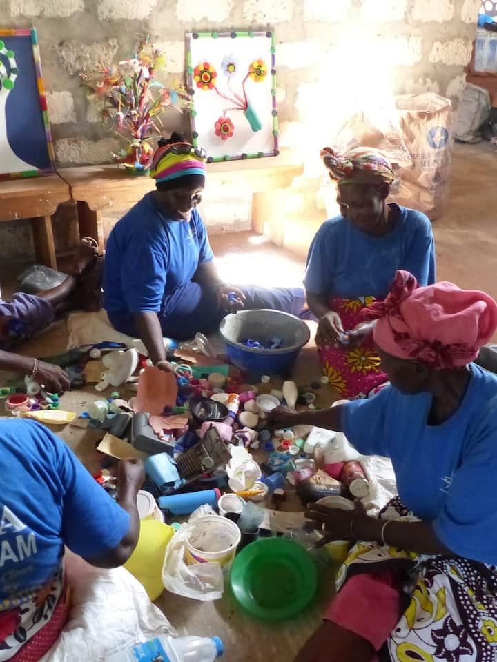 Community groups sorting waste