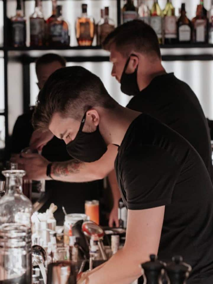 All barmen wear masks
