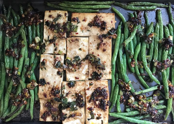 Baked Tofu and Stringbeans w/  Chili Oil