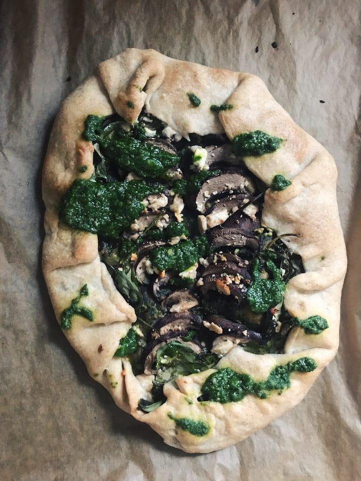 Pesto Mushroom Galette
