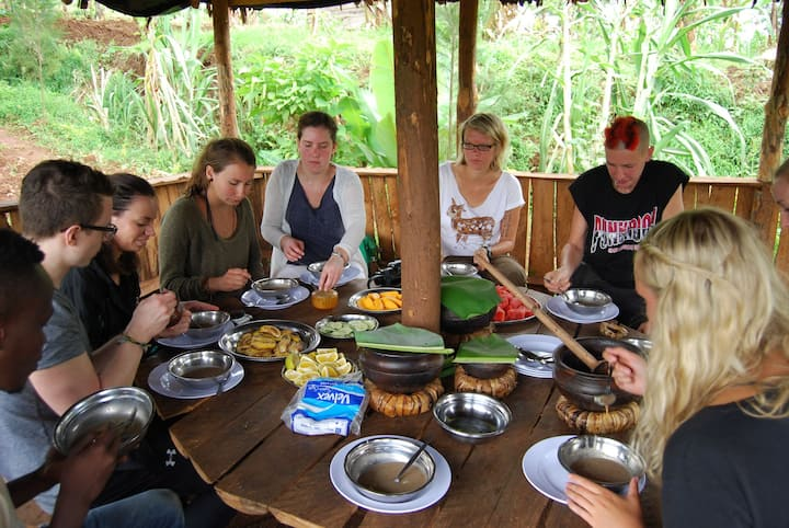 Experiencing chaga food with the locals