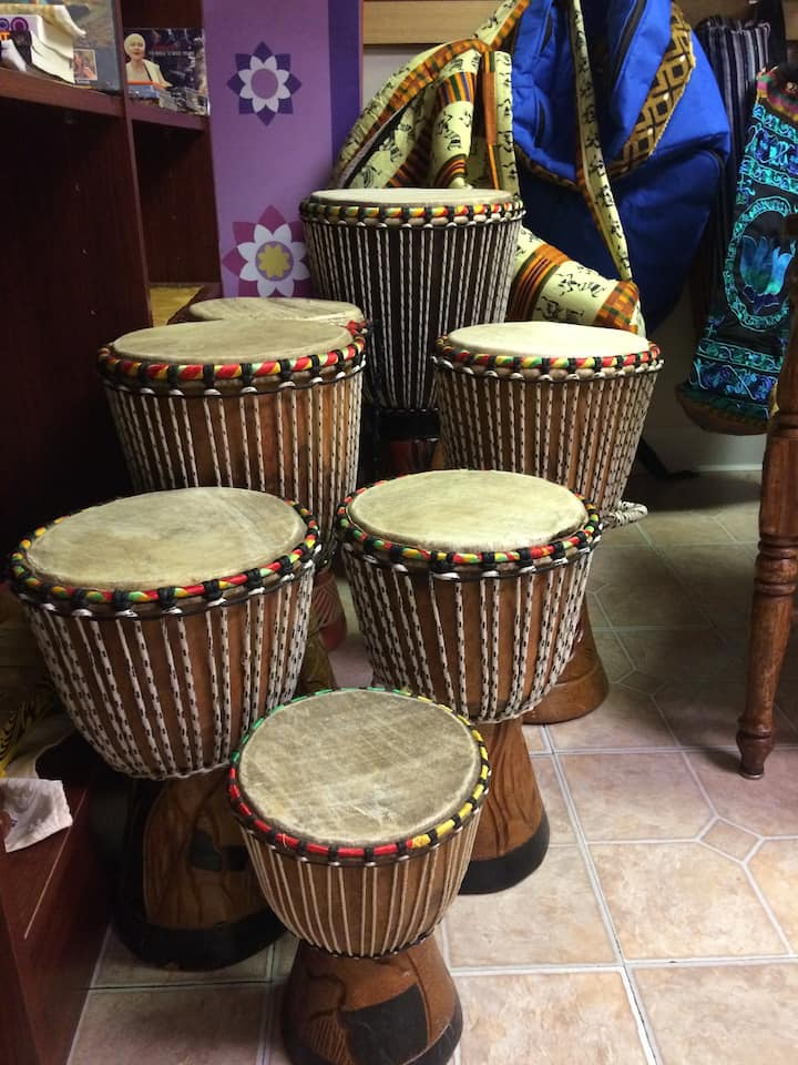 A collection of West African Djembe Drum