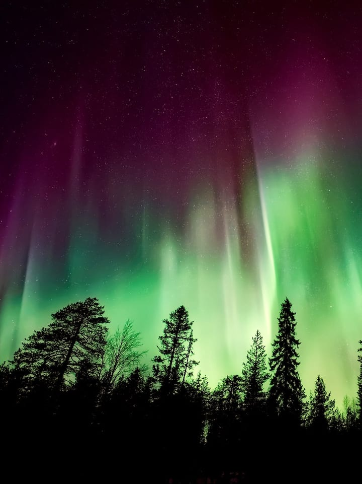 Red Northern Lights on top