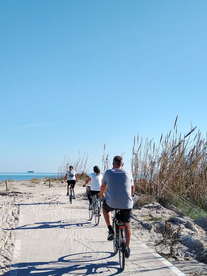 Bike paths along the protected beach