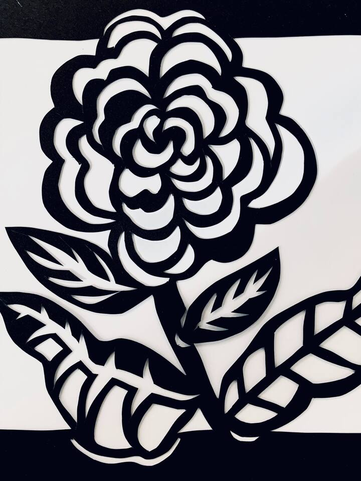 Simple paper cut ready for paper backing