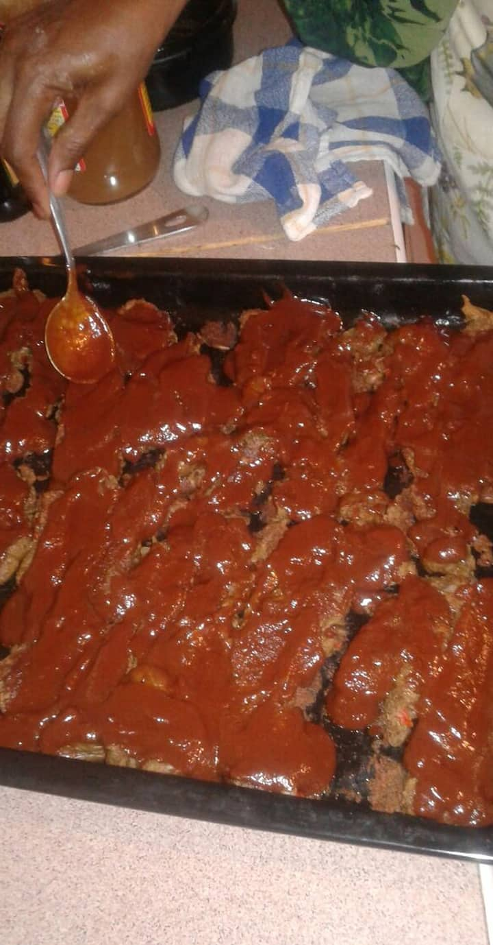 Baking mock meat with  BBQ  sauce