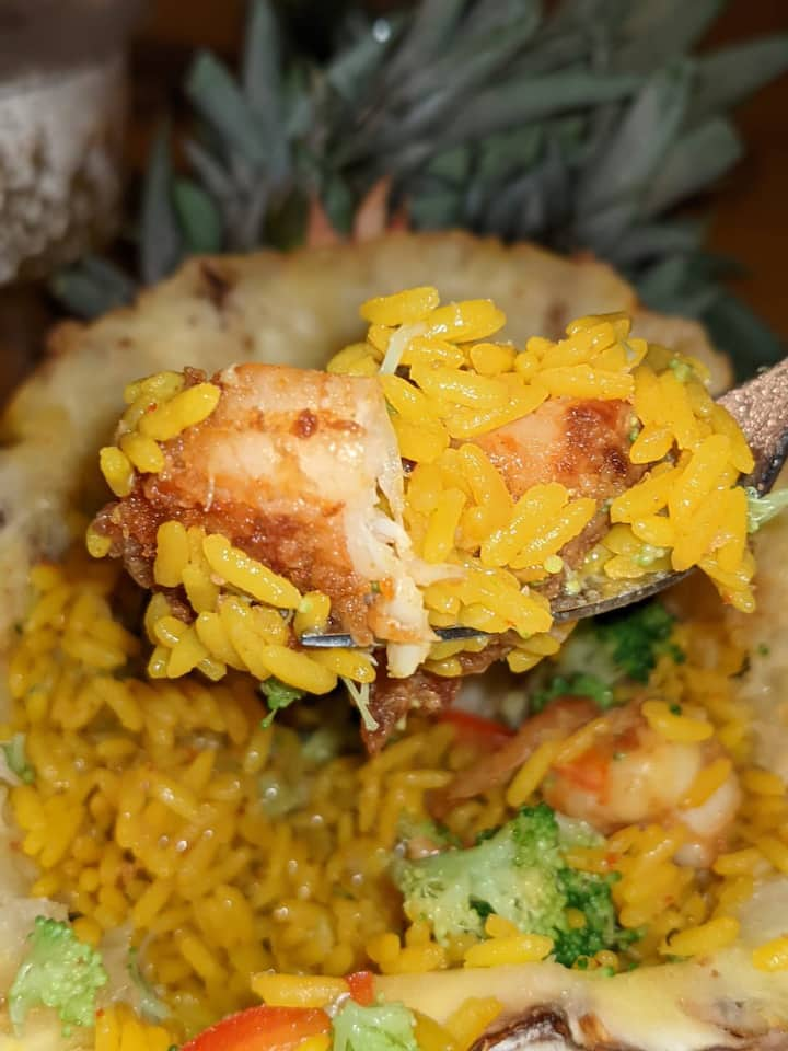 Curried rice with pineapple shrimp bowl