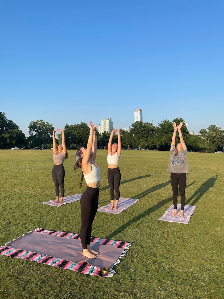 yoga + beautiful Austin skyline