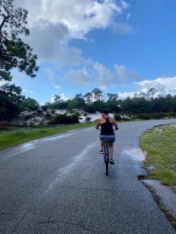 Riding after the rain.