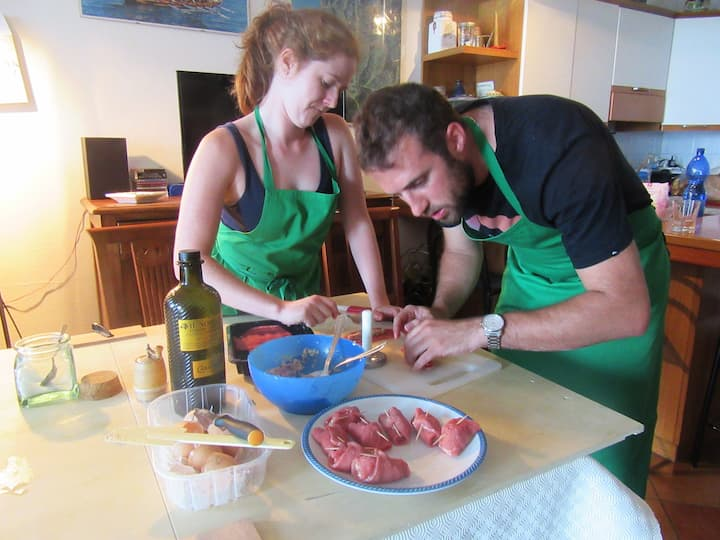 Making Tomaxelle (Genoese meat rolls)